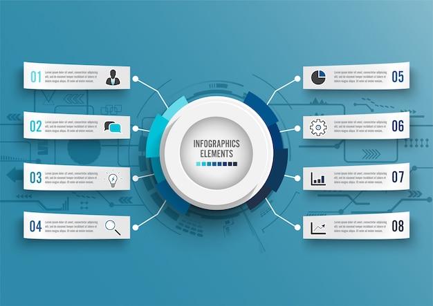 Infografik-vorlage mit 3d-papier
