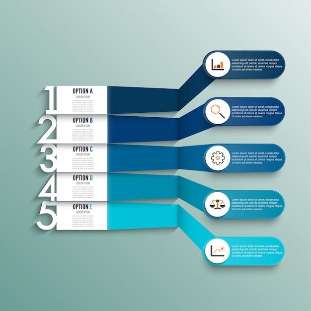 Infografik-vorlage mit 3d-papieretikett. geschäft mit 5 optionen