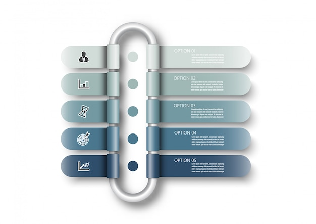 Infografik-vorlage mit 3d-papieretikett, integrierten kreisen. geschäftskonzept mit 5 optionen. für inhalt, diagramm, flussdiagramm, schritte, teile, zeitleisten-infografiken, workflow, diagramm.
