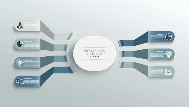 Infografik-vorlage mit 3d-papieretikett, integrierten kreisen. geschäftskonzept mit 7 optionen.