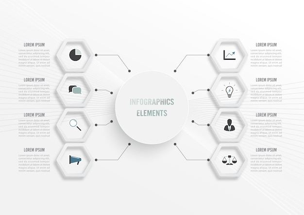 Infografik-vorlage mit 3d-papieretikett, integrierten kreisen. geschäftskonzept mit 8 optionen. für inhalt, diagramm, flussdiagramm, schritte, teile, zeitleisten-infografiken, workflow, diagramm.