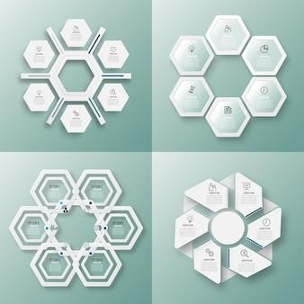 Infografik-vorlage mit 3d-papieretikettenkreisen
