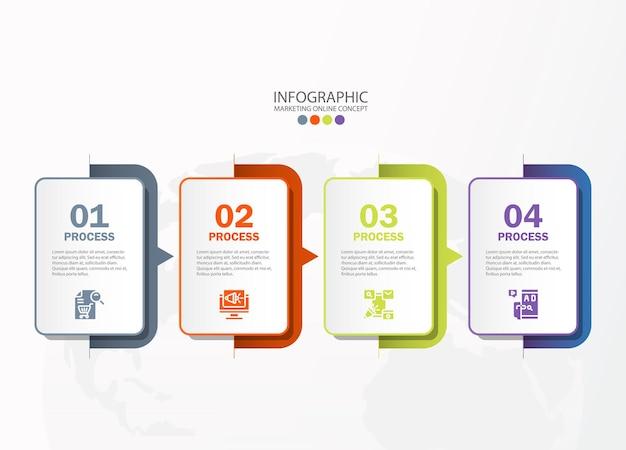 Infografik-vorlage mit 4 schritten, prozess oder optionen, prozessdiagramm, wird für prozessdiagramme, präsentationen, workflow-layout, flussdiagramm, infografik verwendet. vektorillustration eps10.