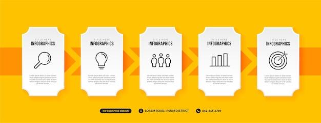 Infografik-vorlage mit 5 optionen auf gelbem hintergrund, geschäftsworkflow mit mehrstufigem konzept