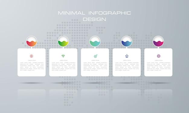 Infografik-vorlage mit 5 optionen, workflow, prozessdiagramm, timeline infografiken design vektor kann für workflow-layout, diagramm, schritte oder prozesse verwendet werden
