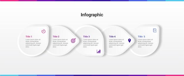 Infografik-vorlage mit 5 schritten oder dienstleistungen
