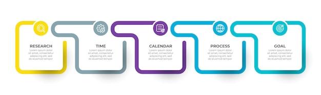 Infografik-vorlage mit 5 schritten oder optionen geschäftskonzept mit symbolen und modernem quadratischem element