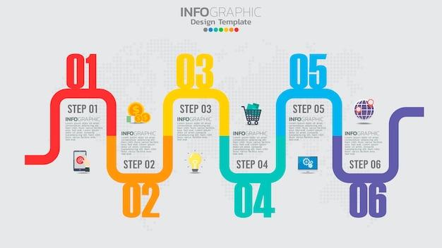 Infografik-vorlage mit 6-elementen-workflow-prozessdiagramm.
