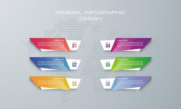 Infografik-vorlage mit 6 optionen, workflow, prozessdiagramm