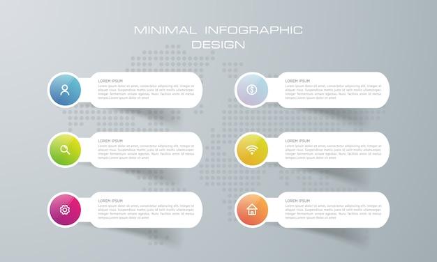 Infografik-vorlage mit 6 optionen