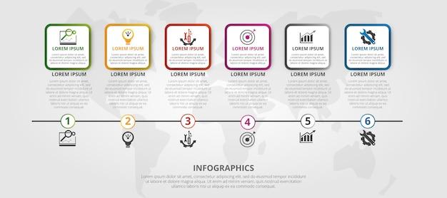 Infografik-vorlage mit 6 schritten
