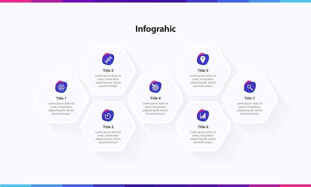 Infografik-vorlage mit 7-schritt-optionsdiensten mit sechseck