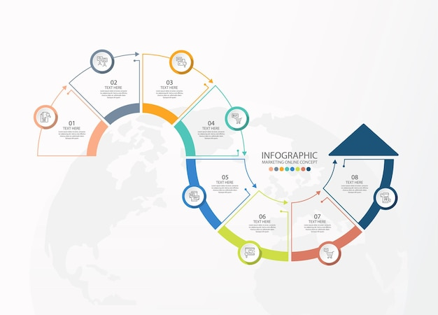 Infografik-vorlage mit 8 schritten, prozess oder optionen, prozessdiagramm, wird für prozessdiagramme, präsentationen, workflow-layout, flussdiagramm, infografik verwendet. vektorillustration eps10.