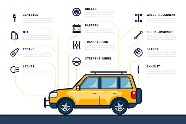 Infografik-vorlage mit auto- und autoteilesymbolen