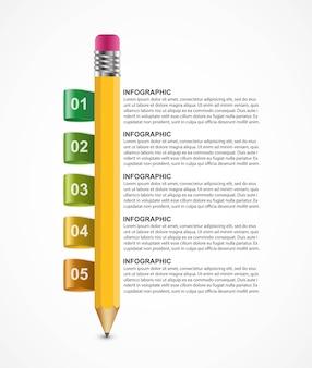 Infografik vorlage mit bleistift. Premium Vektoren