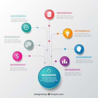 Infografik vorlage mit bunten kreisen