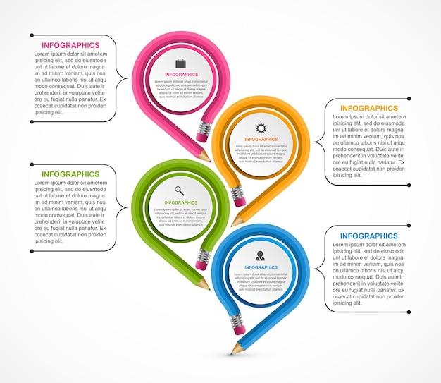 Infografik vorlage mit buntstift.