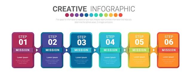 Infografik-vorlage mit der option der nummern sechs