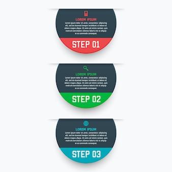 Infografik-vorlage mit drei optionen im materialstil. es kann als diagramm, nummeriertes banner, präsentation, grafik, bericht, web usw. verwendet werden.