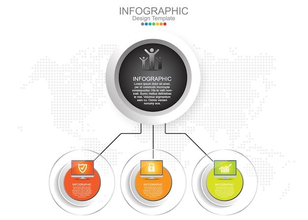 Infografik-vorlage mit drei optionen und symbolen.