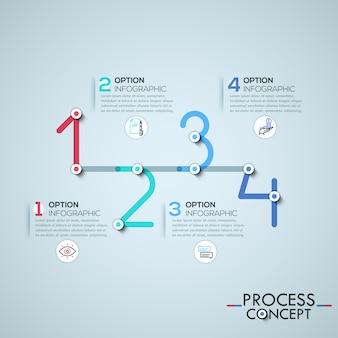 Infografik-vorlage mit elementen durch linien in form von vier zahlen verbunden
