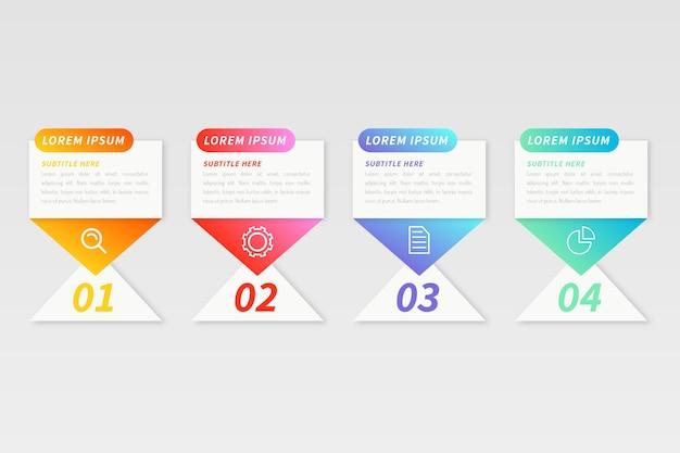 Infografik-vorlage mit farbverlauf in mehreren farben