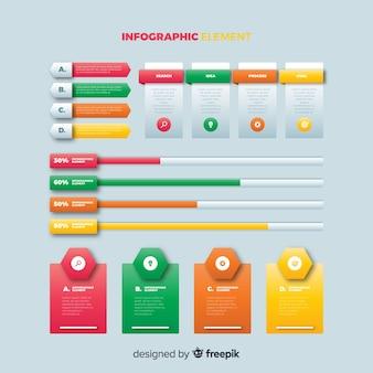 Infografik-vorlage mit farbverlauf mit balken