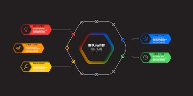 Infografik-vorlage mit fünf optionen für das designlayout mit sechseckigen elementen. geschäftsprozessdiagramm für broschüre, banner, geschäftsbericht und präsentation