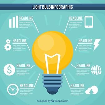 Infografik-vorlage mit gelben glühbirne-weiß-ikonen