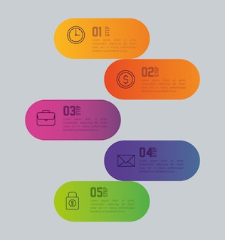 Infografik-vorlage mit geschäftsikonenkonzept