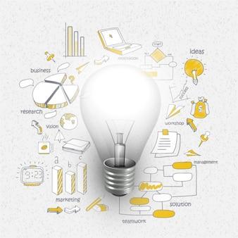 Infografik-vorlage mit glühbirne und charts