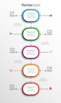 Infografik-vorlage mit optionen, schritten oder prozessen