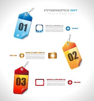 Infografik-vorlage mit papier-tags