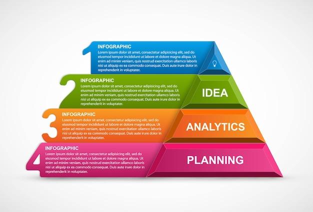 Infografik vorlage mit pyramide für präsentationen