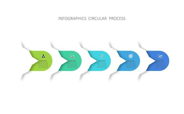 Infografik-vorlage mit schritten des geschäftsprojekts