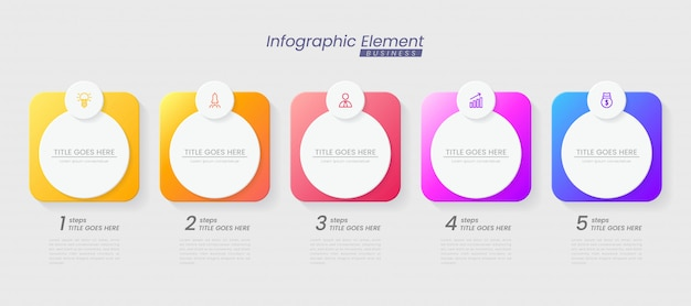 Infografik-vorlage mit schritten zum erfolg. präsentation mit liniensymbolen, organisationselementdiagramm-prozessvorlage mit bearbeitbarem text. optionen für broschüre, diagramm, workflow, zeitachse, webdesign