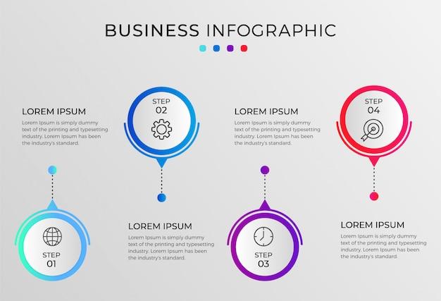 Infografik vorlage mit schritten