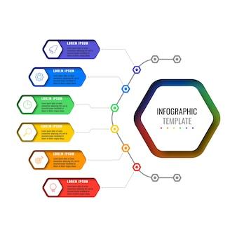 Infografik-vorlage mit sechs optionen für das designlayout mit sechseckigen elementen. geschäftsprozessdiagramm für broschüre, banner, geschäftsbericht und präsentation