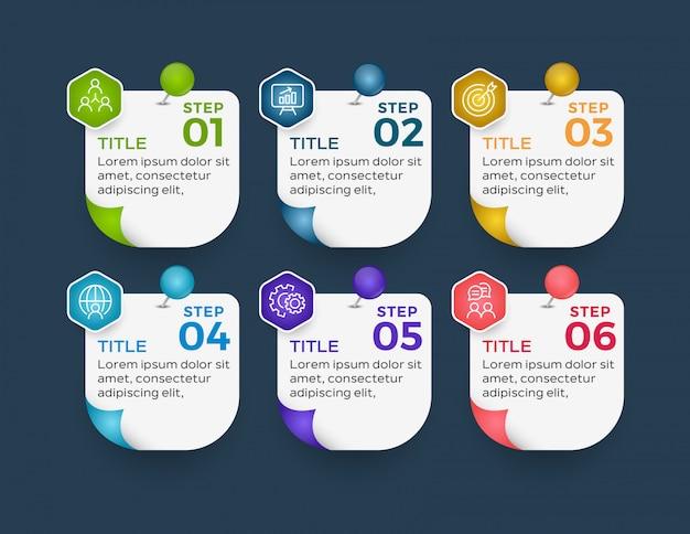 Infografik-vorlage mit sechs optionen