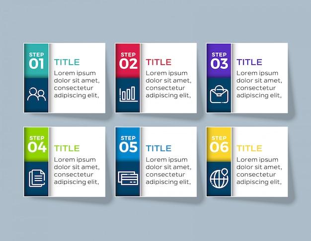 Infografik-vorlage mit sechs optionsschritten