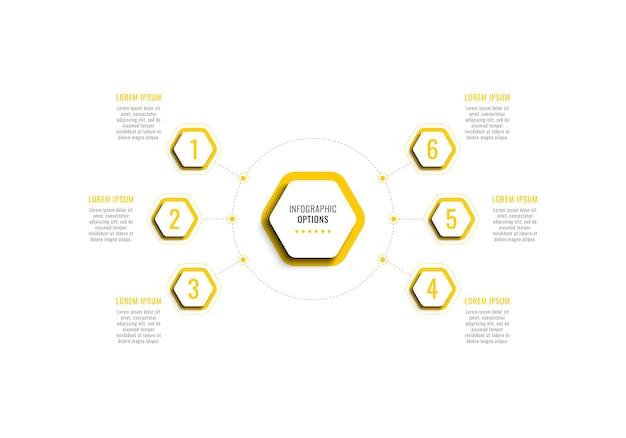 Infografik-vorlage mit sechs schritten mit gelben sechseckigen elementen mit schatten auf weißem hintergrund