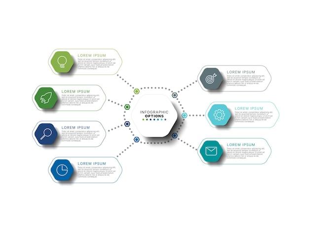 Infografik-vorlage mit sechseckigen mehrfarbigen elementen in flachen farben auf weißem hintergrund