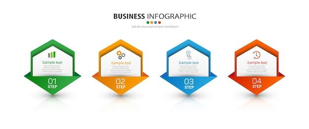 Infografik-vorlage mit symbolen und 4 optionen oder schritten
