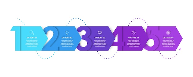 Infografik-vorlage mit symbolen und 5 optionen oder schritten.
