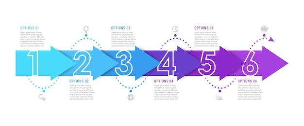 Infografik-vorlage mit symbolen und 6 optionen oder schritten.