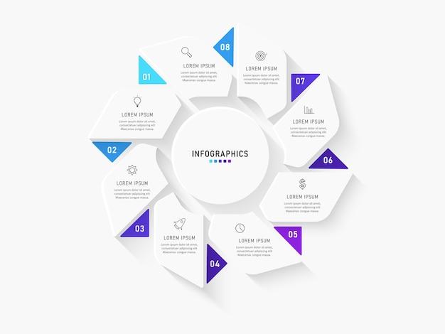 Infografik-vorlage mit symbolen und 8 optionen oder schritten.