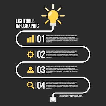 Infografik-vorlage mit symbolen und vier stufen