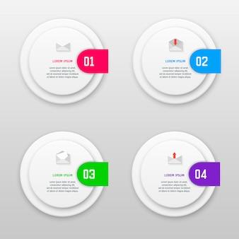 Infografik-vorlage mit vier optionen im materialstil. es kann als diagramm, nummeriertes banner, präsentation, grafik, bericht, web usw. verwendet werden.