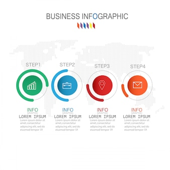 Infografik-vorlage mit vier schritten oder optionen prozessdiagramm