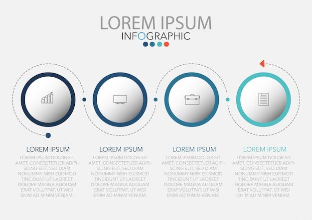 Infografik-vorlage mit vier schritten oder optionen, workflow, prozessdiagramm